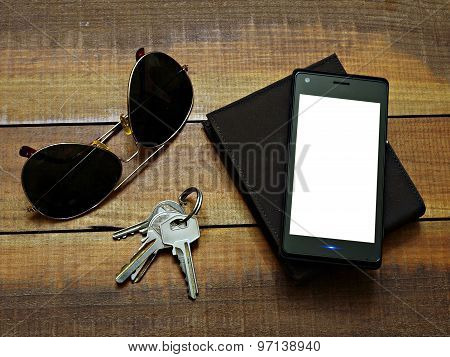 Sunglasses,phone,wallet and keys