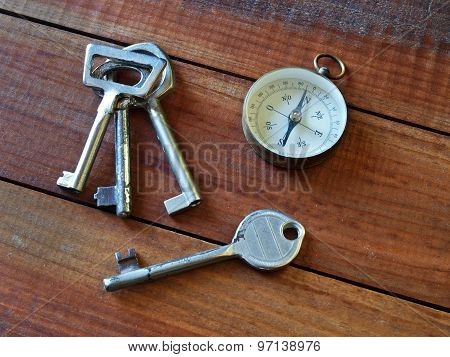 Compass and old keys