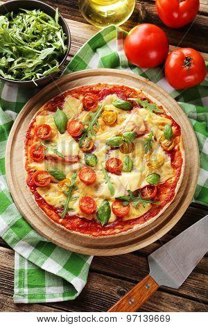Fresh Tasty Pizza On Cutting Board