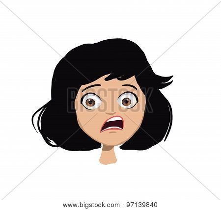 scared girl face illustration