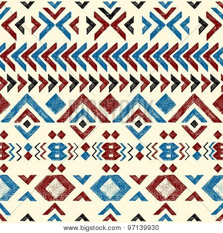 Colorful hand drawn tribal seamless pattern