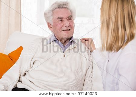Daughter Talking With Senior Father