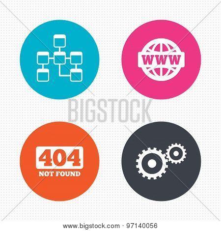 Website database icon. Internet globe and repair