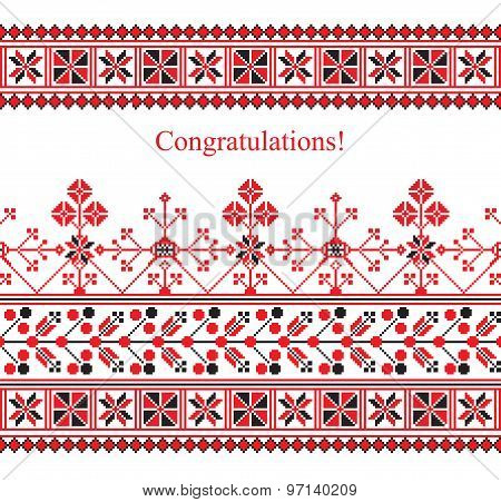 Greeting Card With Ethnic Ornament Pattern In White Red Black Colors