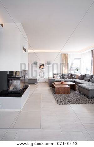 Room With Modern Fireplace