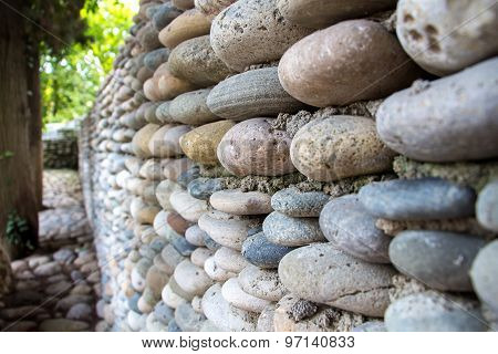 Photo wall exactly paved with colourful stones