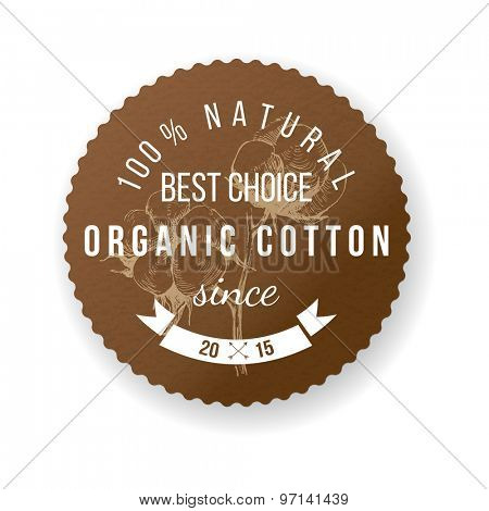 Organic cotton round label with type design