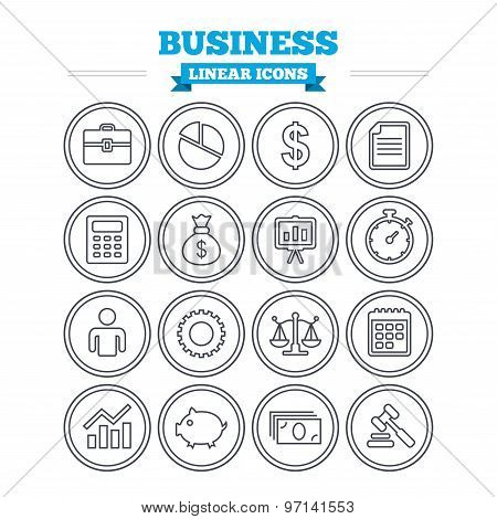 Business linear icons set. Thin outline signs. Vector