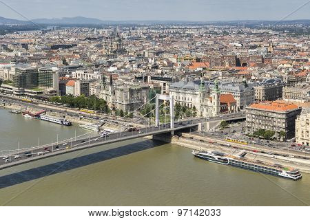 Erzsebet Bridge And Danube River, Budapest, Hungary