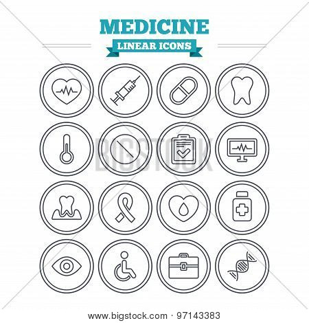 Medicine linear icons set. Thin outline signs. Vector