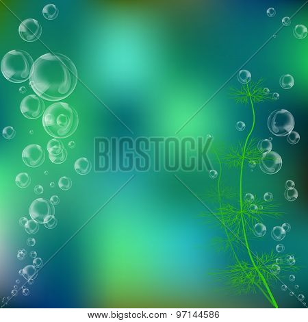 Ocean Underwater Background With Bubbles And Water Plants