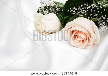 Roses On White Silk Background