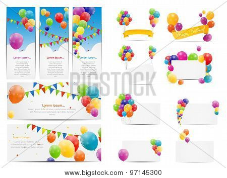 Color Glossy Balloons Background Set Vector Illustration