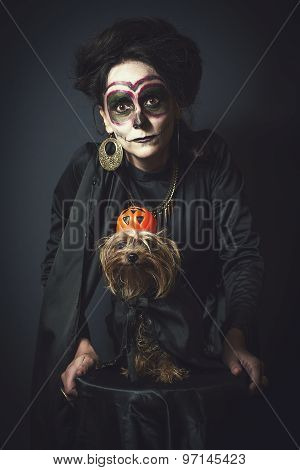 Portrait Of Woman And Dog In Disguise For Halloween