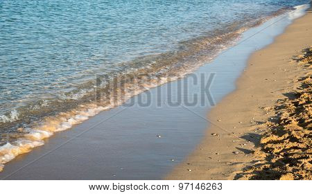 Seashore Wave With Sandy Beach  Background