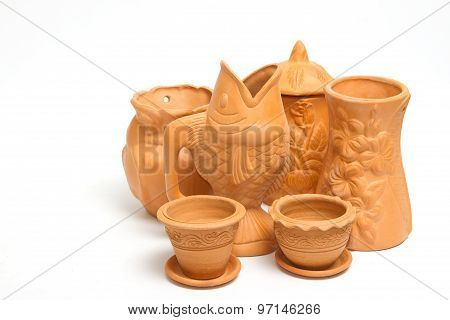 Group Of Clay Vases For Gardening