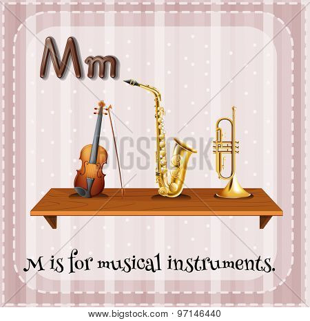 Flashcard letter M is for musical instrument
