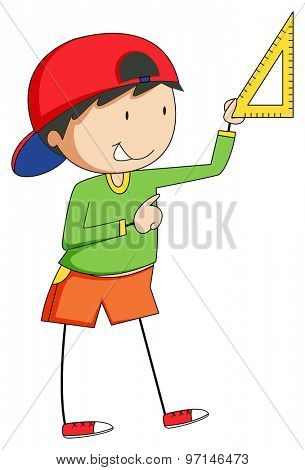 Boy holding triangle to measure something