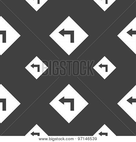 Road Sign Warning Of Dangerous Left Curve Icon Sign. Seamless Pattern On A Gray Background. Vector