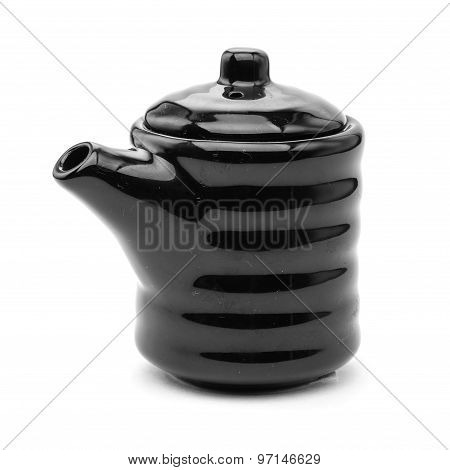 Black ceramic Chinese teapot isolated on white