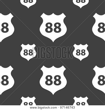 Route 88 Highway Icon Sign. Seamless Pattern On A Gray Background. Vector