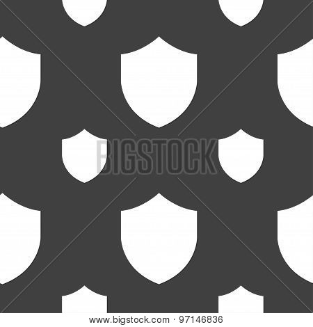Shield, Protection Icon Sign. Seamless Pattern On A Gray Background. Vector