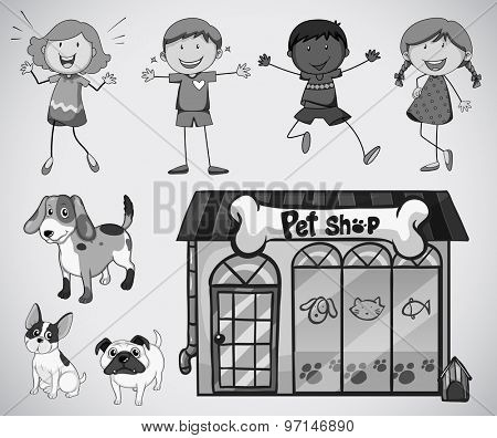 Children and pet in black and white
