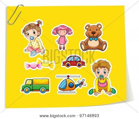 Set of children and toys on yellow paper