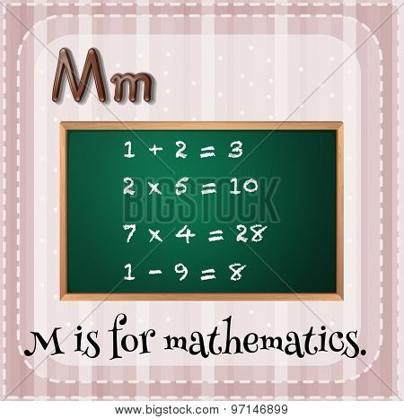 Flashcard letter M is for mathematics