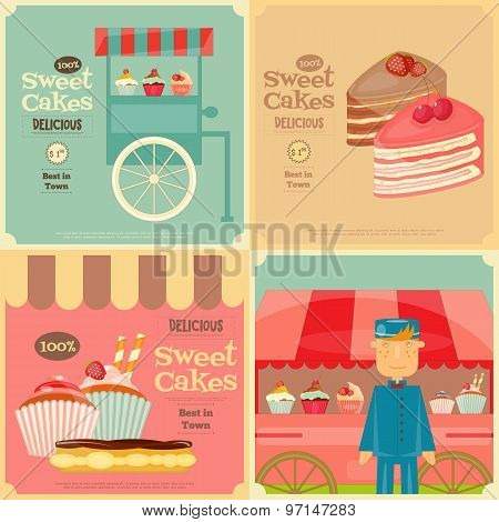 Set Of Cakes Mini Posters