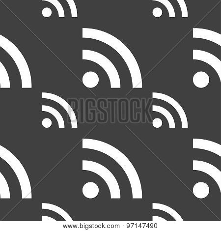 Wifi, Wi-fi, Wireless Network Icon Sign. Seamless Pattern On A Gray Background. Vector