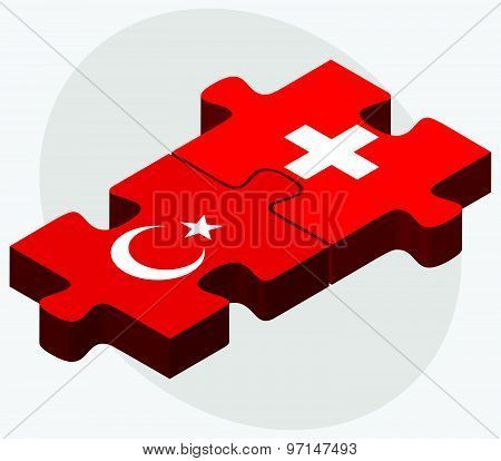 Turkey And Switzerland Flags