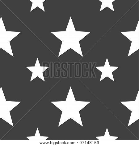 Star, Favorite Icon Sign. Seamless Pattern On A Gray Background. Vector