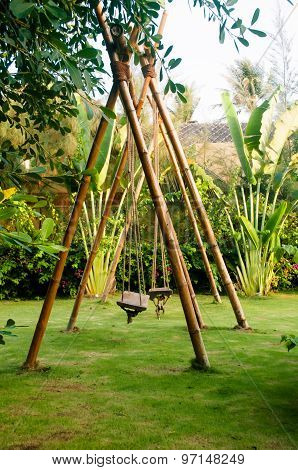 Green Place With Bamboo Swings