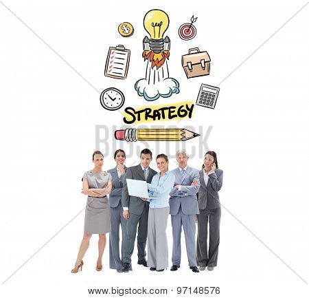 Business team looking at camera against strategy doodle