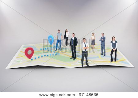 Business team against world map with pointers