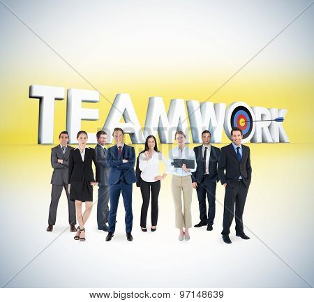 Business team against teamwork graphic