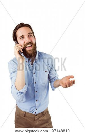 Handsome hipster making a call on white background