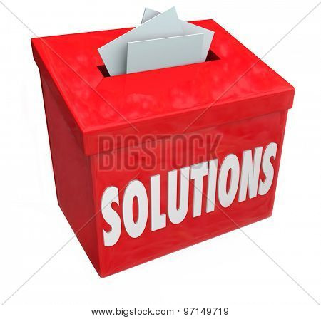 Solutions word on collection box for sharing ideas on solving problem or trouble with creative or imaginative thinking