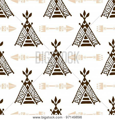 Seamless Wigwam Pattern With Arrows. Hand-drawn Indian Background Vector. Native American Tent Patte
