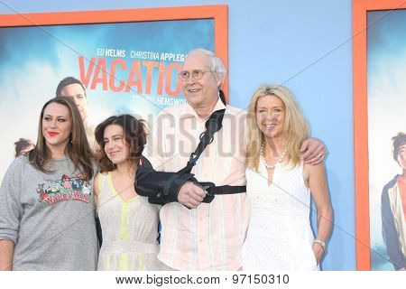 LOS ANGELES - JUL 27:  Emily Chase, Caley Chase, Chevy Chase, Jayni Chase at the
