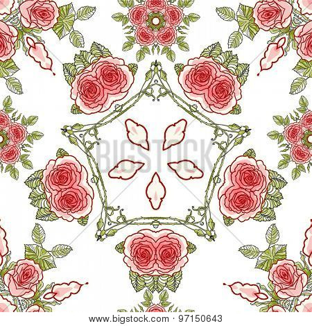 Roses seamless pattern for holiday design.
