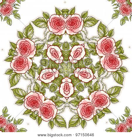Roses seamless pattern for holiday design. Floral background.