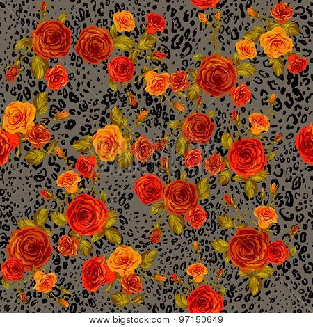 Leopard skin and orange roses seamless pattern. Animal and floral background.