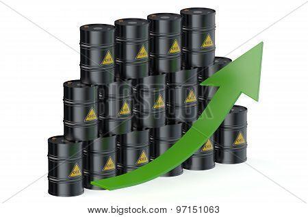 Oil Barrels With Arrow