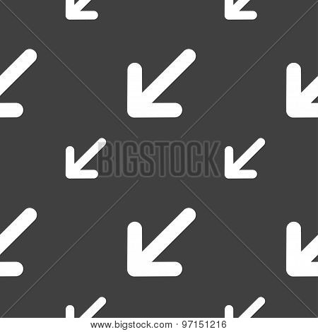 Turn To Full Screenicon Sign. Seamless Pattern On A Gray Background. Vector