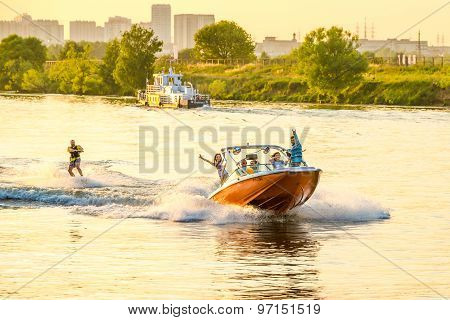 Yacht on Moscow river