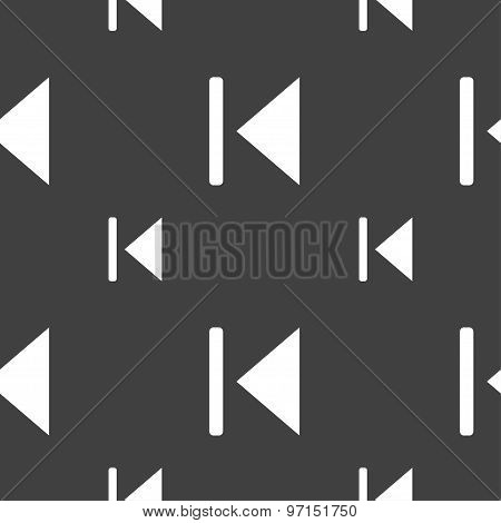 Fast Backward Icon Sign. Seamless Pattern On A Gray Background. Vector