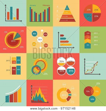 Set of business data market elements, diagrams, graphs. Flat style design icons.