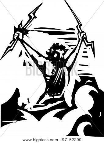 Woodcut Zeus